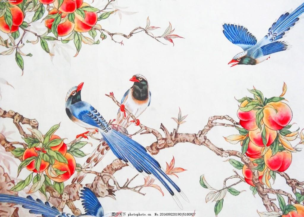 喜鹊仙桃 国画 工笔 花鸟 花鸟画 工笔花鸟画 花鸟国画 艺术绘画 设计