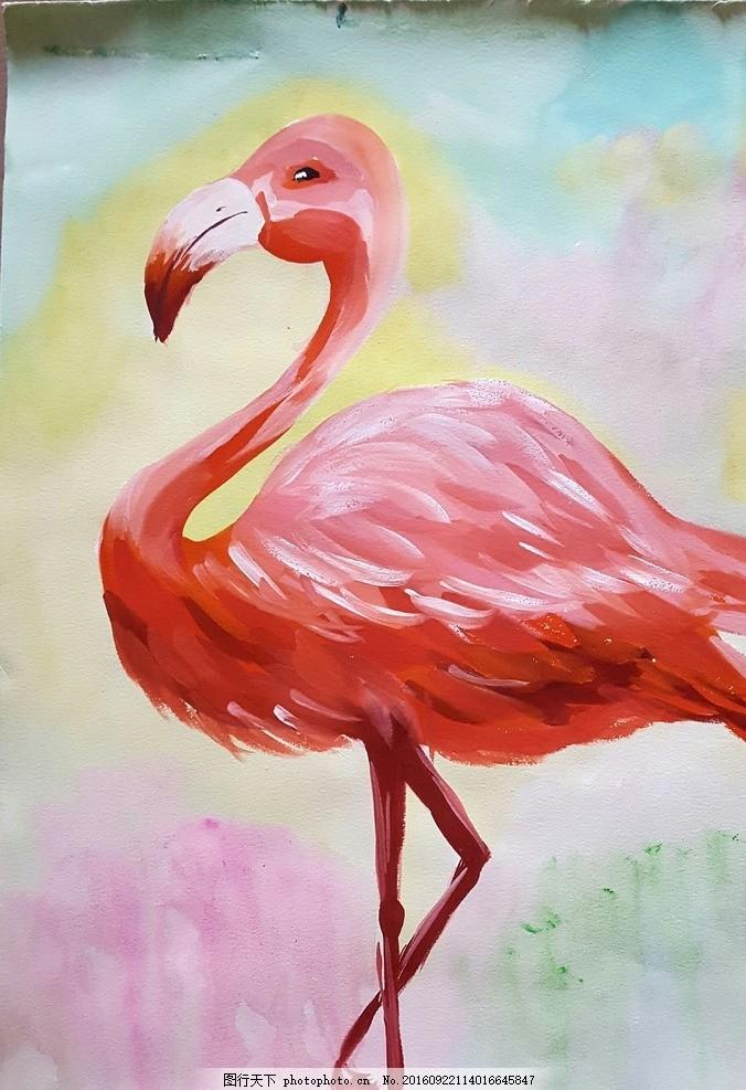 儿童水粉画 火烈鸟 火烈鸟 水粉 儿童 少儿 美术 动物 水彩 创意 绘画