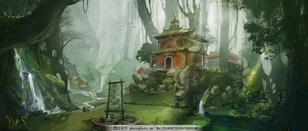 异界风景 软件制图 色彩构成 绿色调 森林古屋 二次元 动漫动画