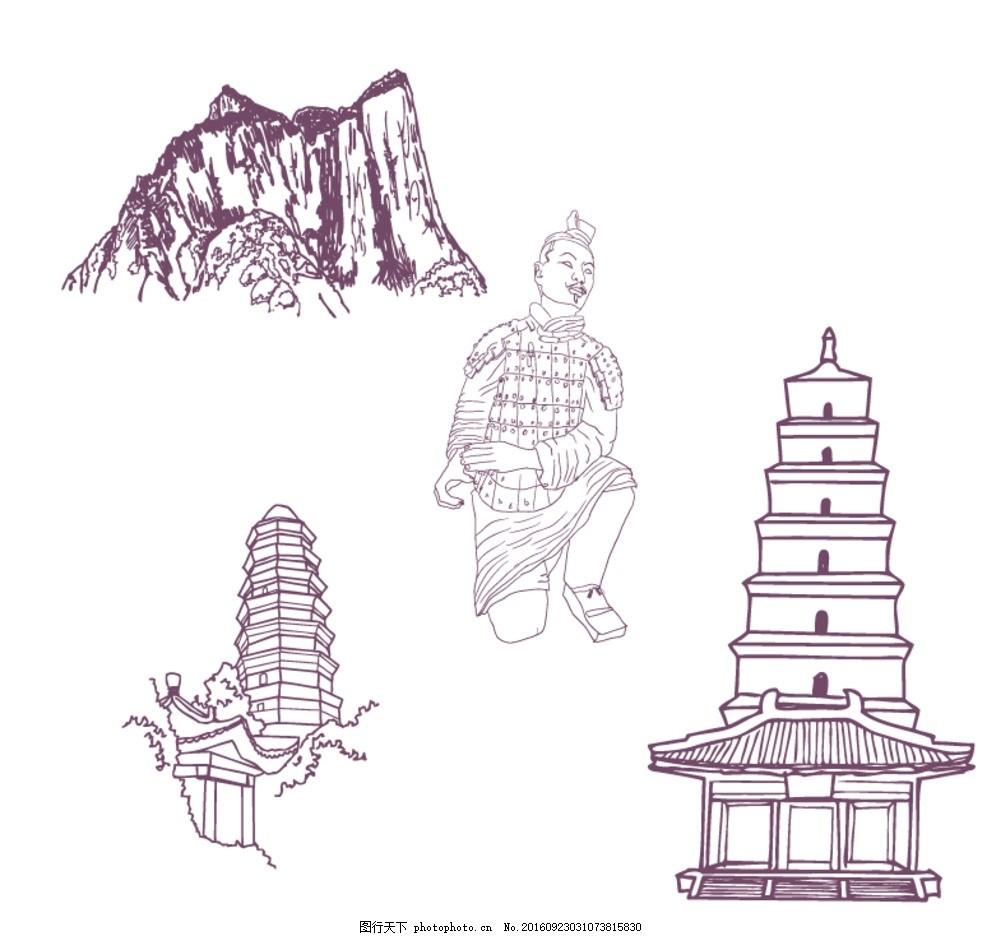 长城简笔画步骤_兵马俑简笔画