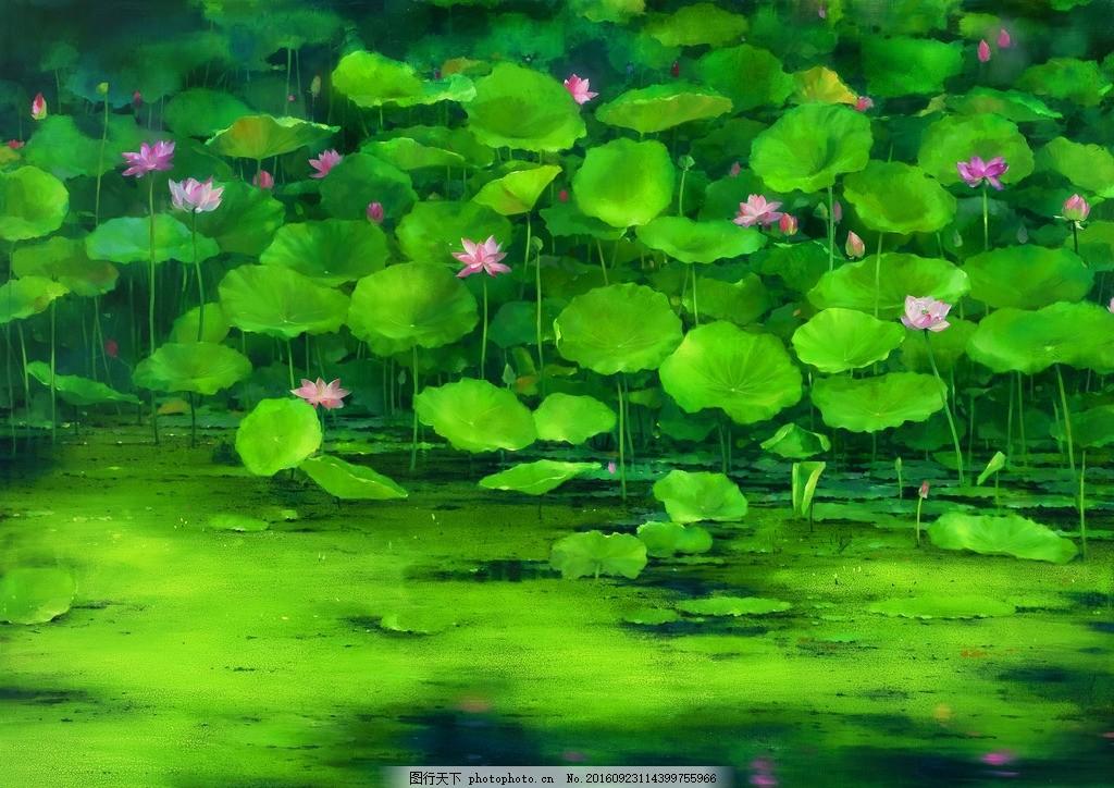 荷塘 油画 池塘 荷花 倒影 荷叶 风景画 风景油画 艺术绘画
