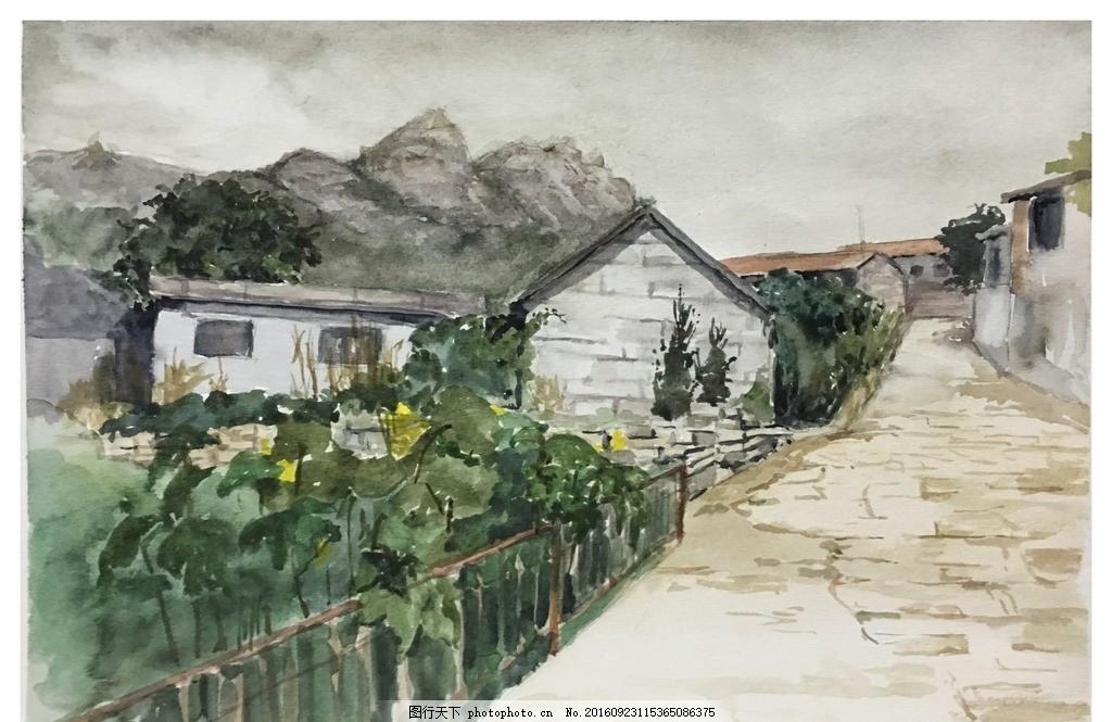 青岛崂山水彩画