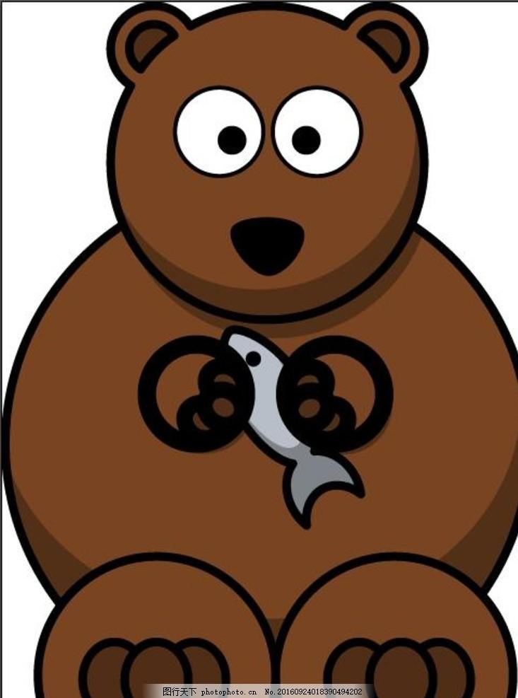 狗熊吃鱼 儿童绘画 手绘 儿童画 装饰画 无框画 动画卡通矢量