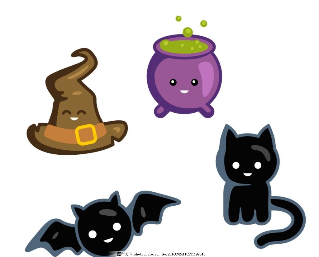 蝙蝠 猫咪 万圣节 矢量素材 卡通 抽象 手绘 卡通素材 万圣节素材
