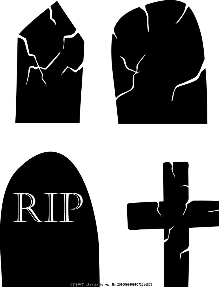 墓碑 矢量素材 卡通 抽象 手绘 卡通素材 万圣节素材 万圣节元素