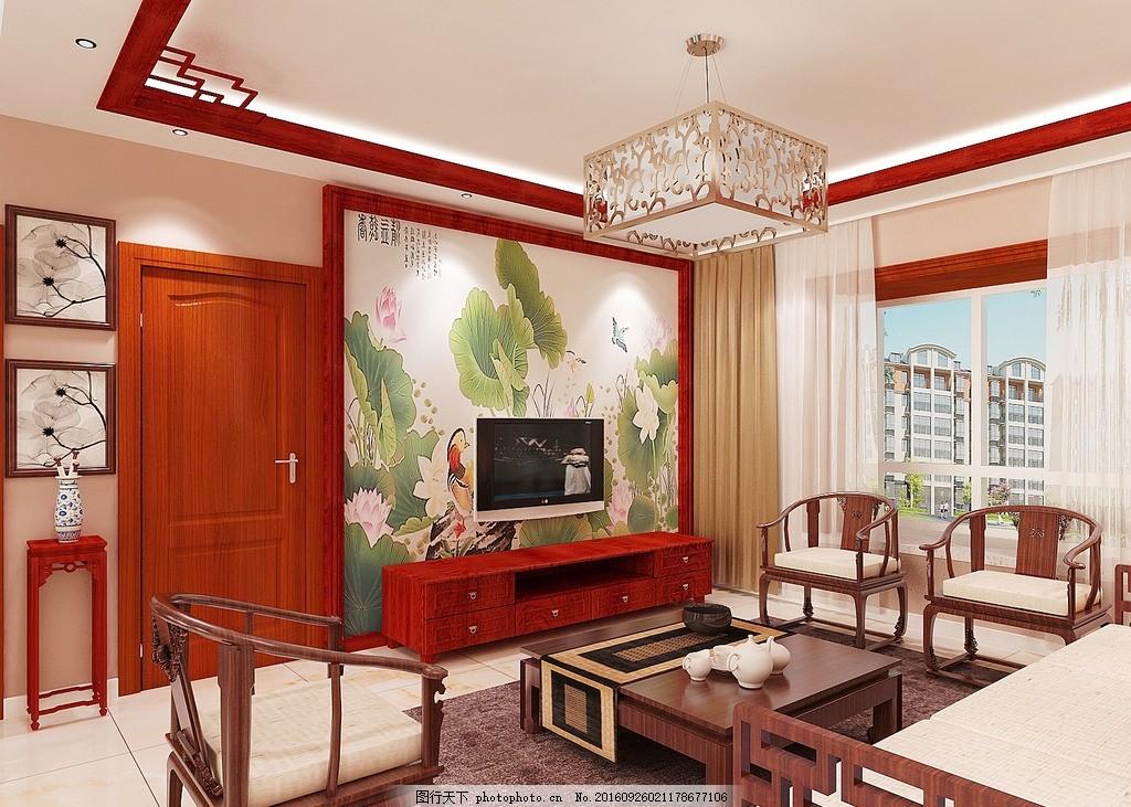 小户型中式客厅电视背景墙