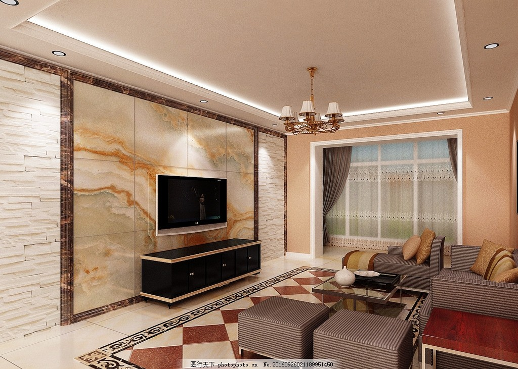 文化石欧式客厅效果图 文化石      欧式 地面拼花 简欧 室内设计