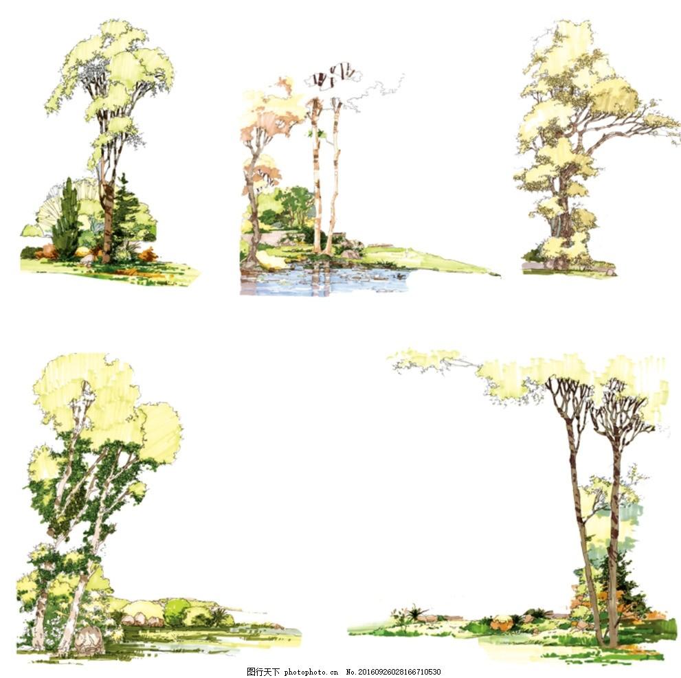 树木景观素材 手绘 单体 马克笔 彩色 彩绘