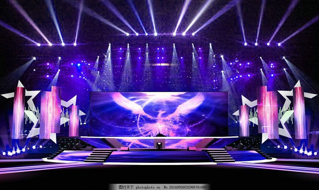 舞美灯光设计 舞台效果图 歌友会舞台 舞台灯光素材 庆典舞台 年会