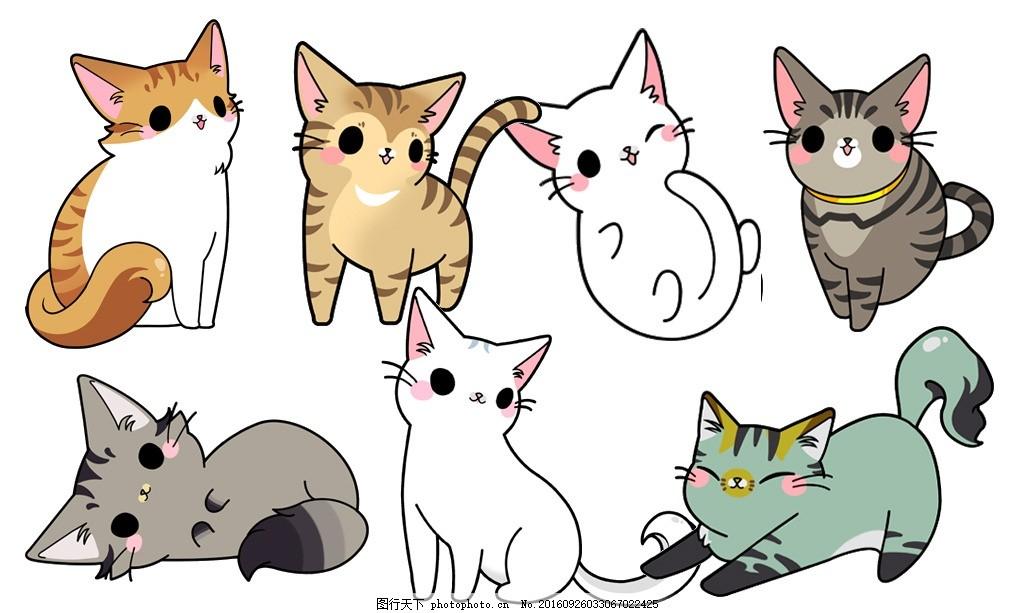 猫咪 毛 卡通猫 手绘