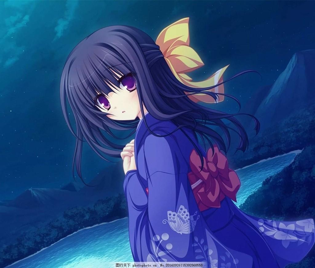 动漫卡通小女孩 蓝色 紫色 日本和服 桌面壁纸 背景 卡通人物