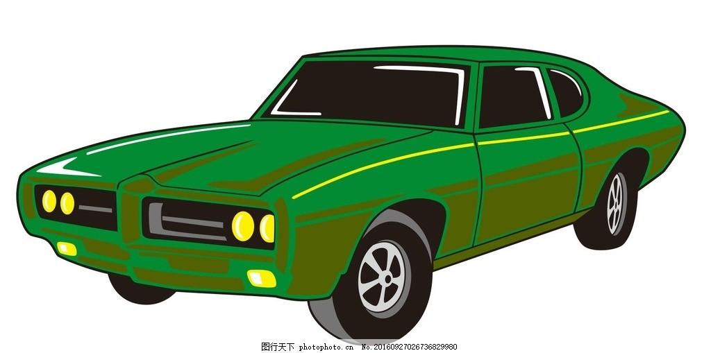 汽车 小汽车 车辆 机械车 简笔画 线条 线描 简画 黑白画 卡通