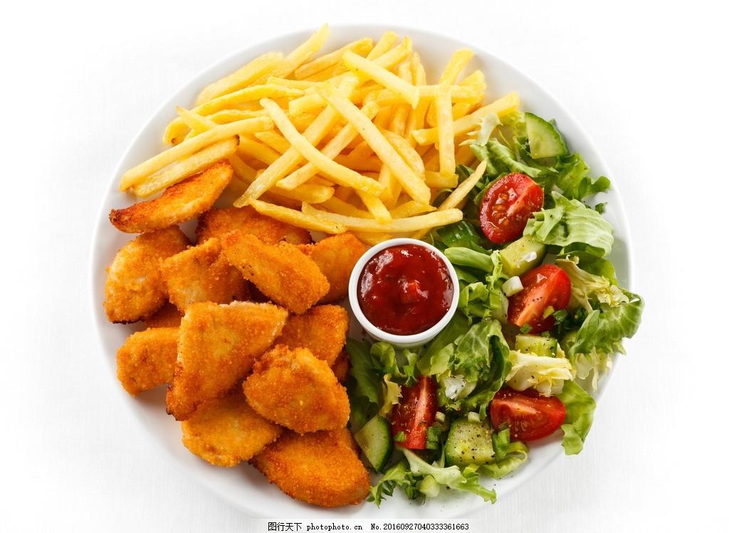 炸鸡汉堡 炸鸡 汉堡 蔬菜 圣女果 薯条 美食图片 摄影 餐饮美食 西餐