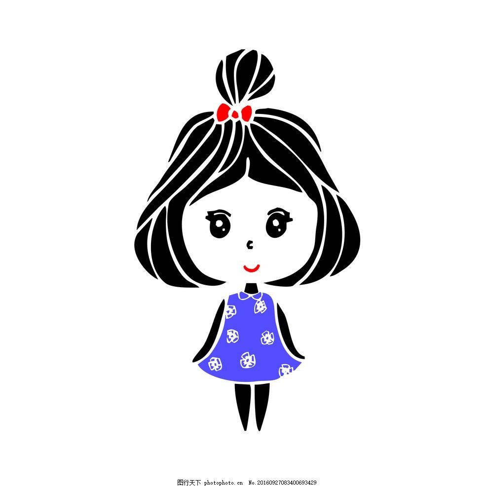 矢量可爱卡通小女孩图片