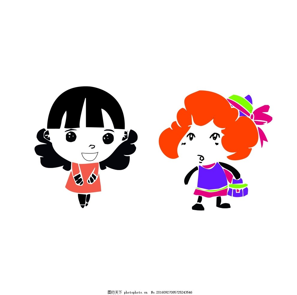 矢量 闺蜜 卡通 动漫 女孩 小人 卡通小人 设计 动漫动画 动漫人物 ai