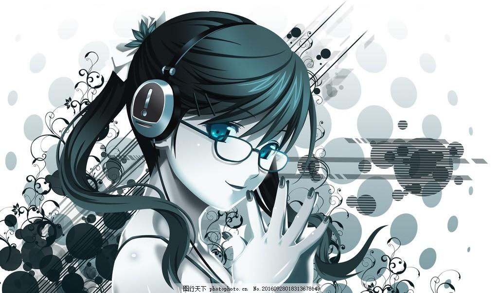 卡通戴眼镜小女孩 动漫 人物剪影 侧脸 思考动作 桌面壁纸 背景