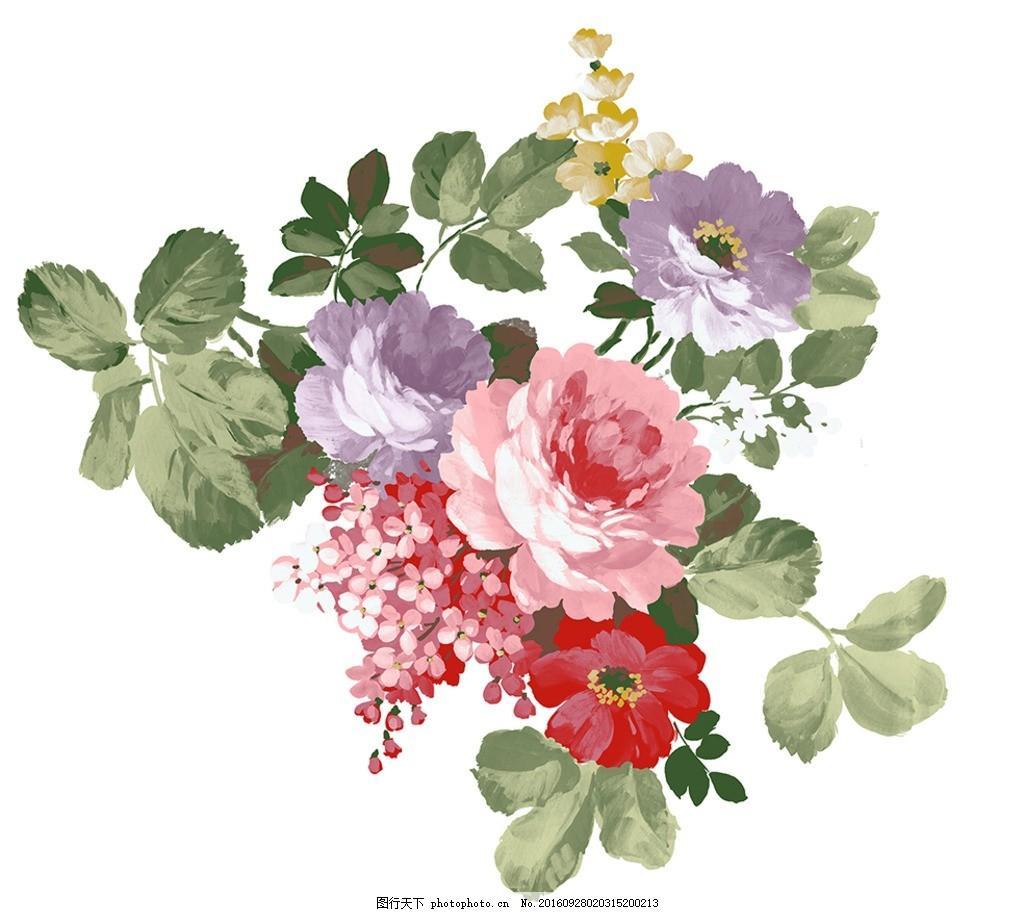 手绘花朵 玫瑰 玫瑰花 粉玫瑰 红玫瑰 花朵 花卉 设计素材 花纸 壁画