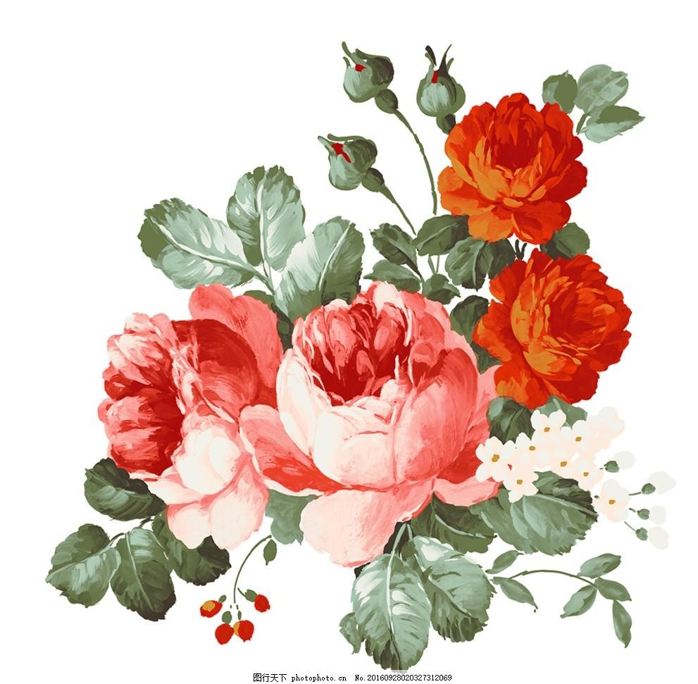 手绘红花 手绘花 手绘花朵 玫瑰 玫瑰花 红玫瑰 搪瓷花朵 陶瓷花 花纸