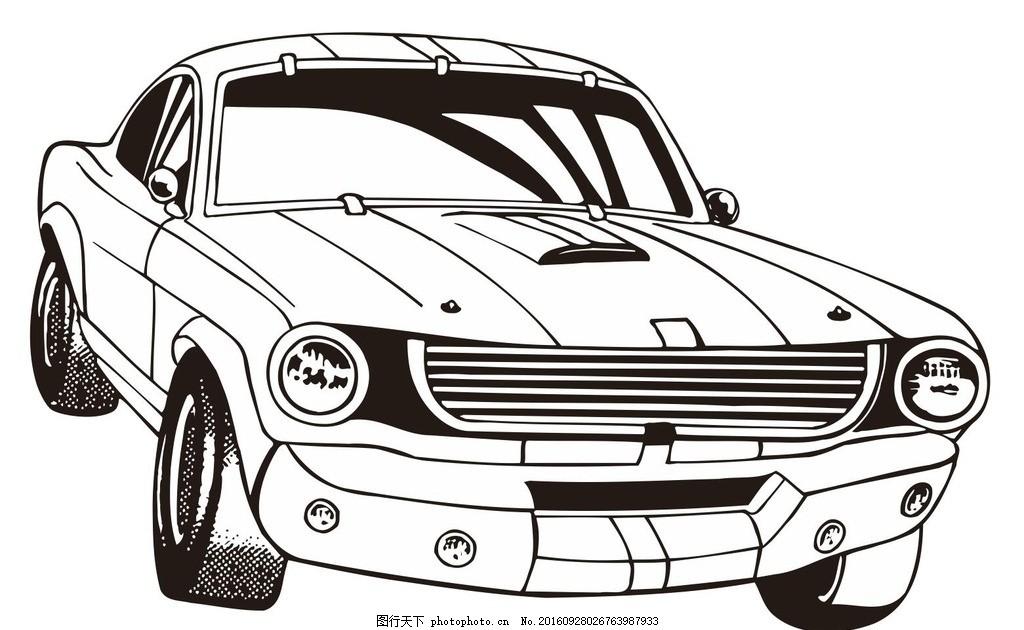 线描汽车 小汽车 车辆 机械车 简笔画 线条 简画 黑白画 卡通
