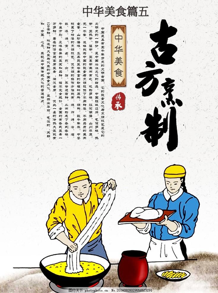 古方烹制 面条 手绘拉面人物 面馆 古方烹制海报 古方烹制展板 古方