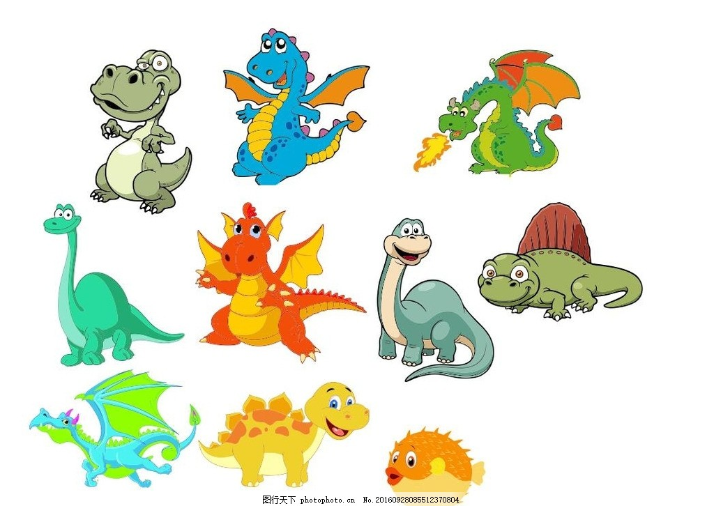 卡通恐龙 卡通形象 卡通动漫 动漫人物 大恐龙 喷火恐龙 动漫动画