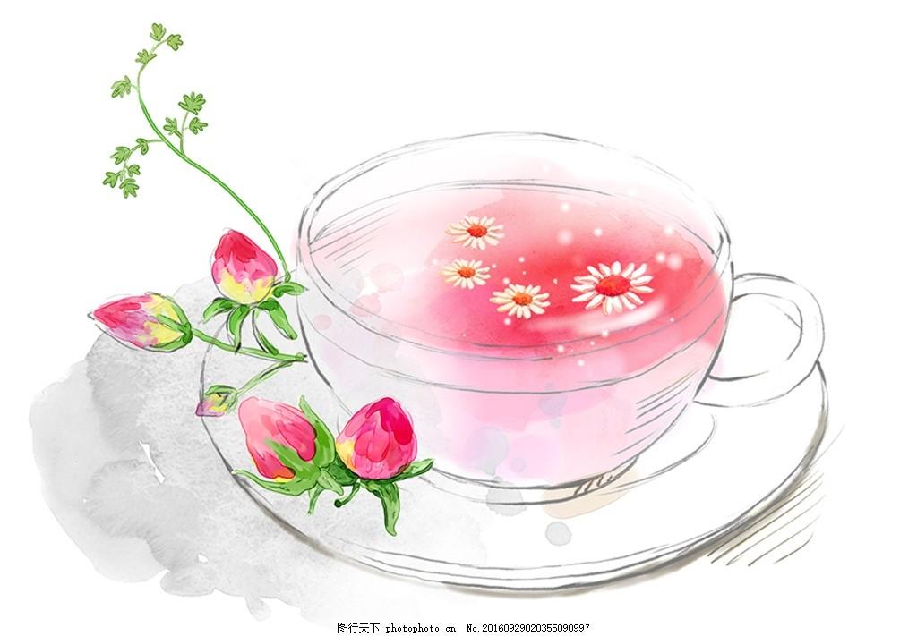 玫瑰茶 菊花 花朵 手绘花 手绘玫瑰 玫瑰花 花茶 玫瑰花茶 花卉