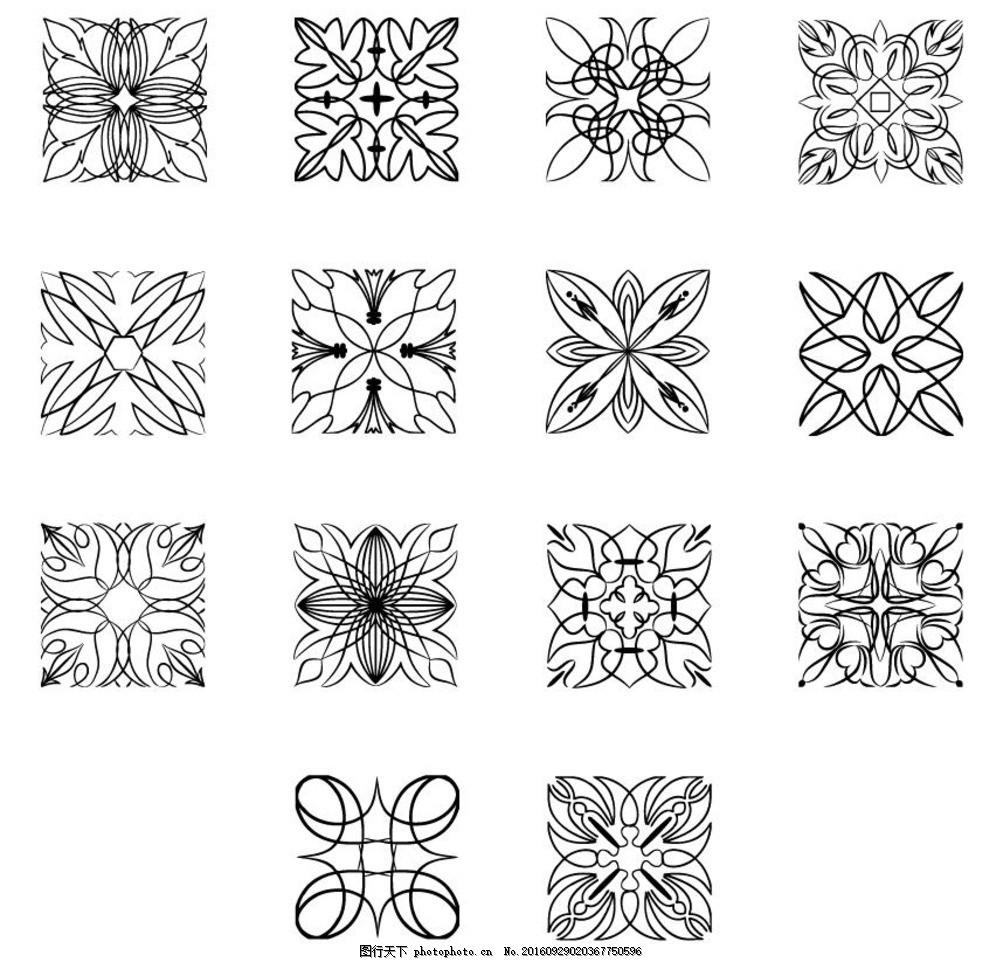 黑白花纹 玻璃花 雕花 割花 花纹 欧式花纹 正方形花纹 正方形割花 磨
