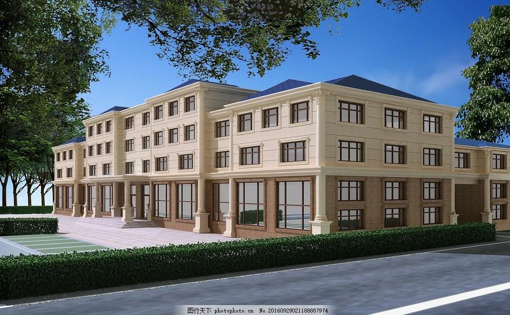 办公楼 外墙 装修 设计 欧式 构建 设计 3d设计 3d作品 500dpi jpg