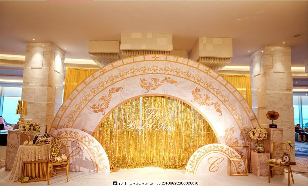 婚礼香槟色背景 香槟色背景 欧式花纹 婚礼背景 雨丝帘 签到台 留影区