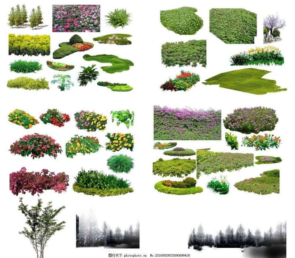 鸟瞰图 psd分层图 后期 椅子 植物 石头 假山 树 设计 psd分层素材