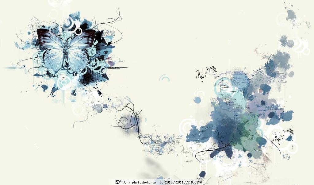 古风背景 矢量元素 古风 蝴蝶 水彩 清新 设计 文化艺术 绘画书法 100