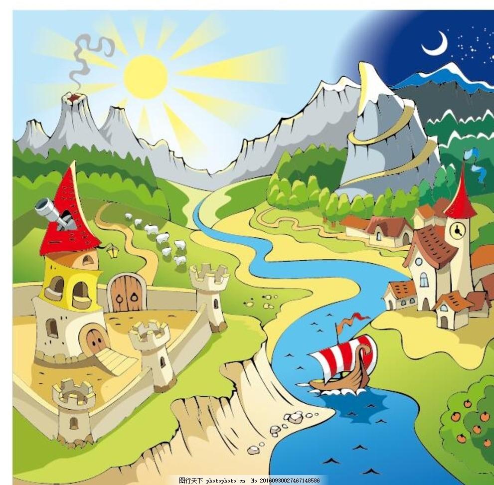 城市建筑 彩色建筑 农村风景 手绘 时尚 潮流 矢量素材 景点建筑