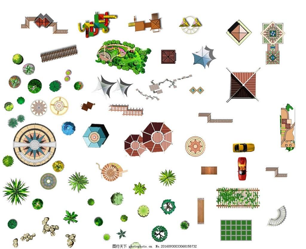 园林景观设计平面效果图 手绘 园林 景观设计 绿化 树木 平面效果图