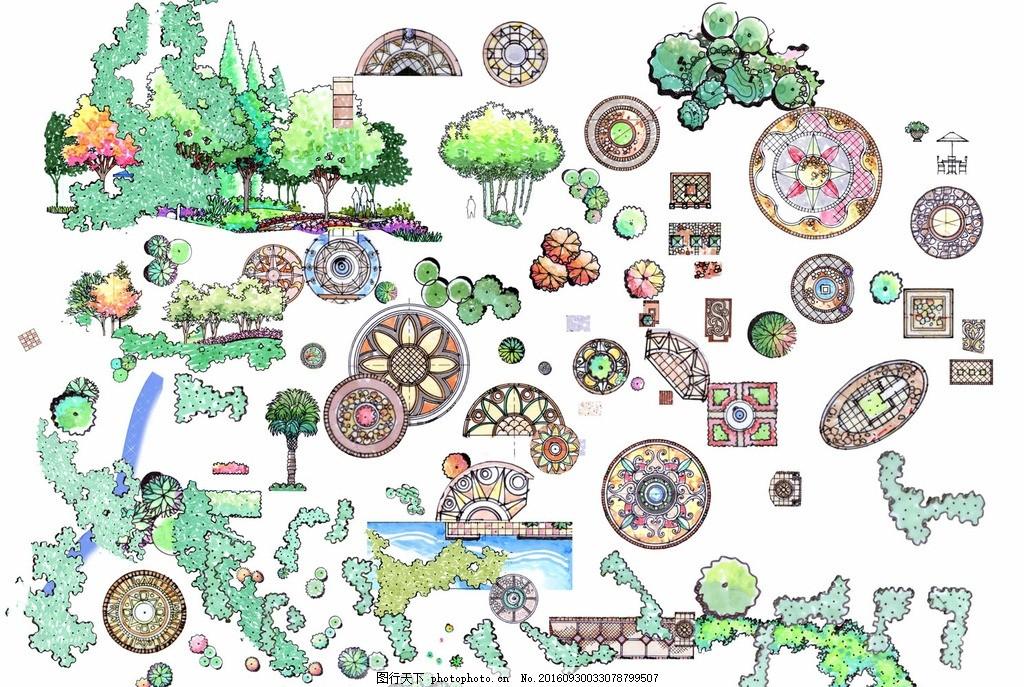 手绘 园林 景观设计 绿化 树木 平面效果图 素材 乔木 公园 庭院 植被